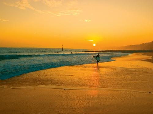 Surfing on Bournemouth Beach
